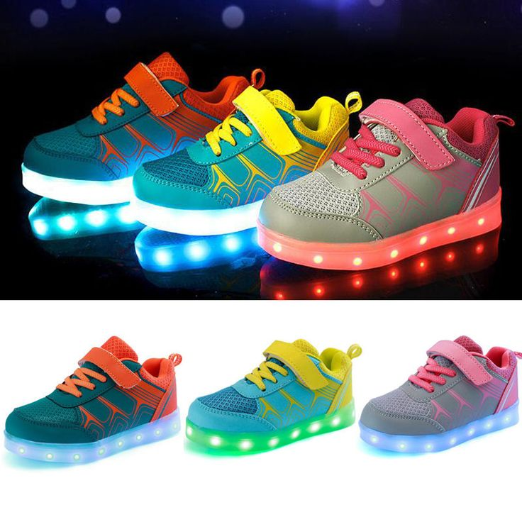 Kids USB LED Light Luminous Lace Up Shoes Boys Girls Children Causal Sneakers #Unbranded #CasualShoes