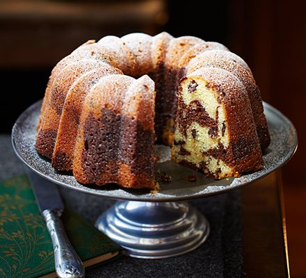 Great British Bake Off's Ruby Tandoh creates a two-tone decorative sponge ring. Pick a patterned bundt cake tin for an extra-special finish