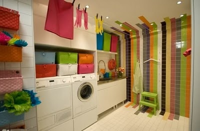 """Love the color tiles """"leaking"""" into the rest of the room, and the clothes lines going across the ceiling.Clothing Line, Room Decor Ideas, Happy Colors, Laundry Room Design, Room Ideas, Laundry Rooms, Utility Room, Cabinets Design, Bright Colors"""