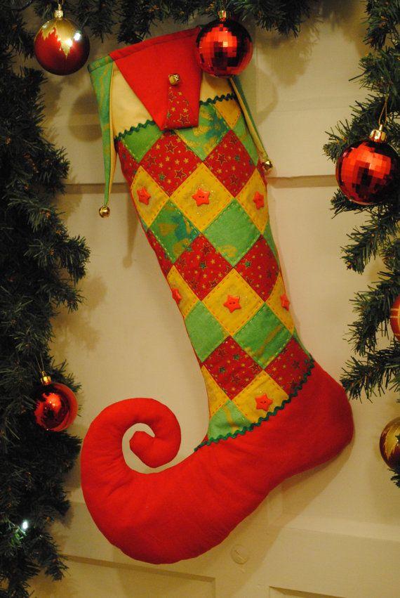 Handmade Christmas Stocking Harlequin Curly Toe