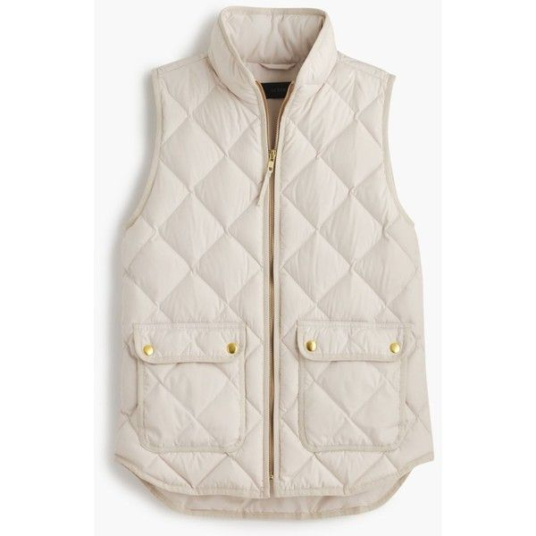J.Crew Excursion Quilted Down Vest (£120) ❤ liked on Polyvore featuring outerwear, vests, jackets, coats, tops, petite, down vest, down filled vest, pocket vest and pink quilted vest