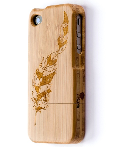'Gold Feather' Laser Engraved Bamboo iPhone Case $69.95