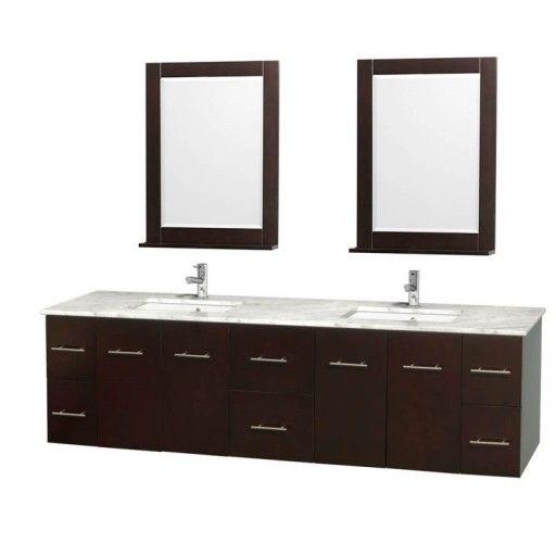 "Wyndham Collection Centra 80"" Double Bathroom Vanity for Undermount Sinks - Espresso WC-WHE009-80-DBL-VAN-ESP-"