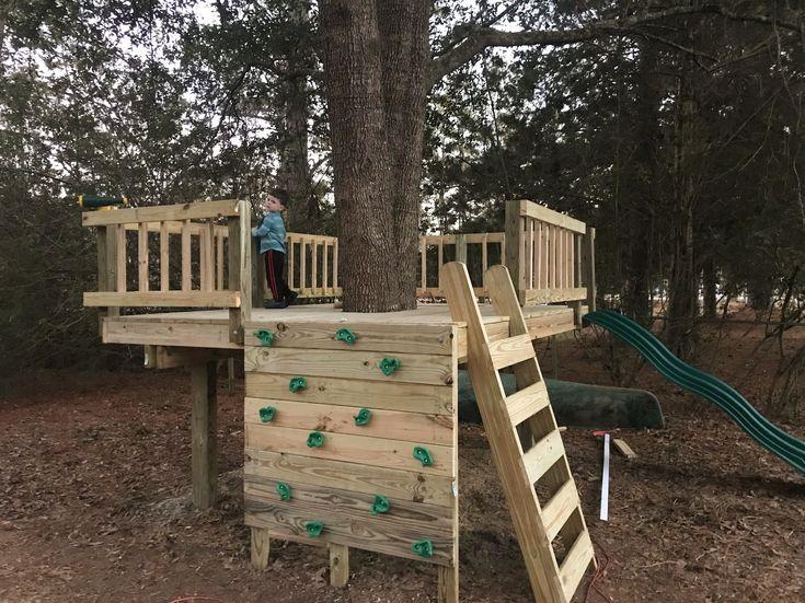 DIY Tree Fort, kids rock wall, tree house, railing, play ...