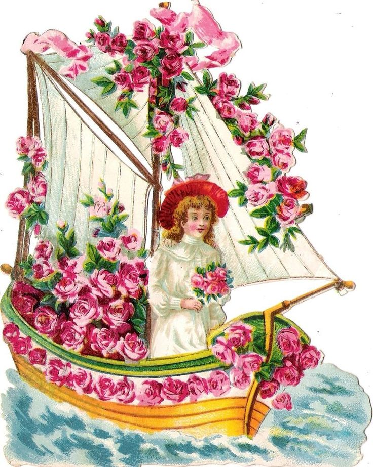 Oblaten Glanzbild scrap die cut chromo Kind child  16,5cm bateau Boot boat fleur