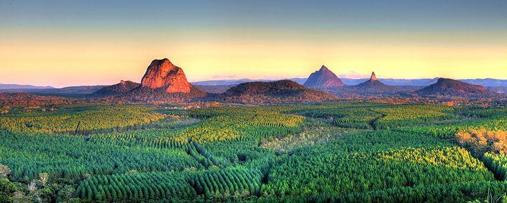Glasshouse Mountains, Sunshine Coast, QLD. **Location, Wildhorse view of mountains & colours**