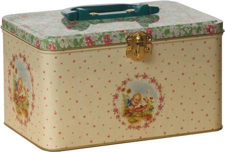 Blikken koffertje Froy en Dind retro baby bloem    Een geweldig kraamcadeau!