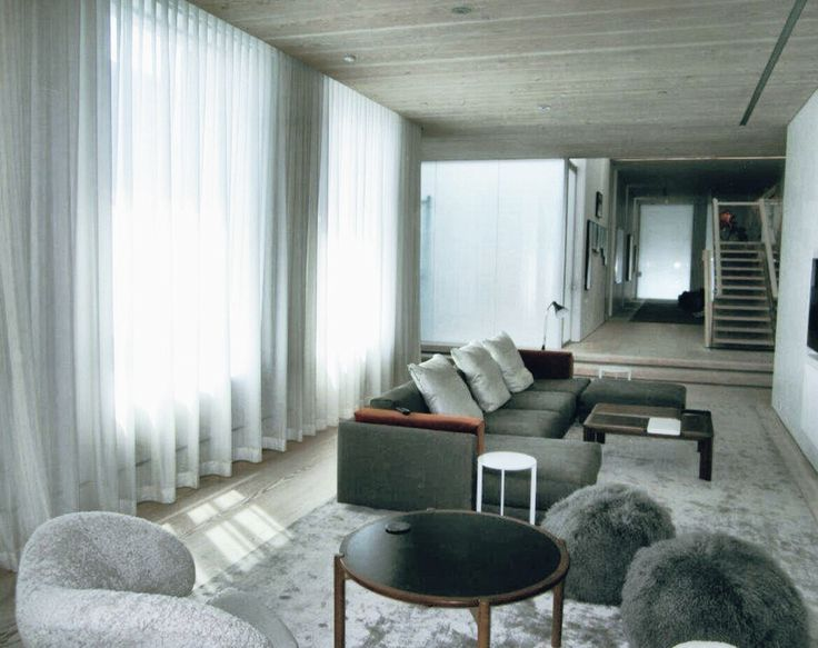Grey Sheer Drapes In A Modern Black And White Living Room Penthouse Apartment On