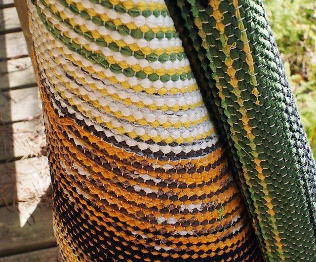 Liljan Lumo: Retroilua räsymaton verran   Retro look rag rug made from old sheets, fabrics and jersey.
