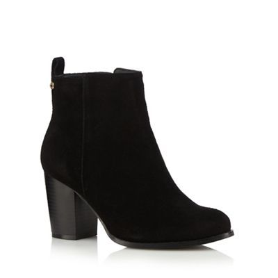 Faith Black suede high heel wide fit ankle boots | Debenhams