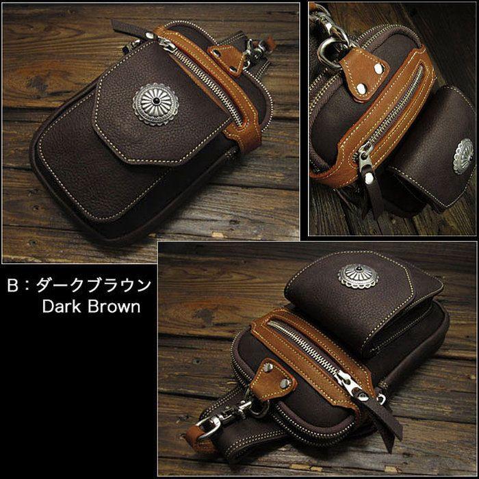 本革にこだわったウエストポーチ!四色の中からお選びください!。ウエストポーチ ウエストバッグ ヒップポーチ レザー/本革 ハンドメイド Leather waist Pouch Hip Bag Pack Belt Pouch 4 Colors Black/Dark Brown/Brown/RedWILD HEARTS Leather&Silver(ID wp3513b13)