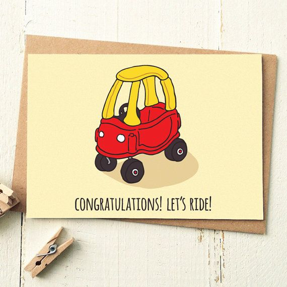 Lets Ride - Funny Driving Test Congratulations Card  Woohoo! They passed their driving exam! Send your congrats with this awesome throwback illustrated card, perfect for a best friend, brother, sister, boyfriend or girlfriend!  Love our cards? We also have custom packs available in quantities of 3, 5 or 10! This is the link to our 3 pack of Funny Illustrated Cards -  https://www.etsy.com/uk/listing/251964412/greeting-card-set-funny-greeting-cards?ref=shop_home_active_14  PRODUCT CODE: PC067…