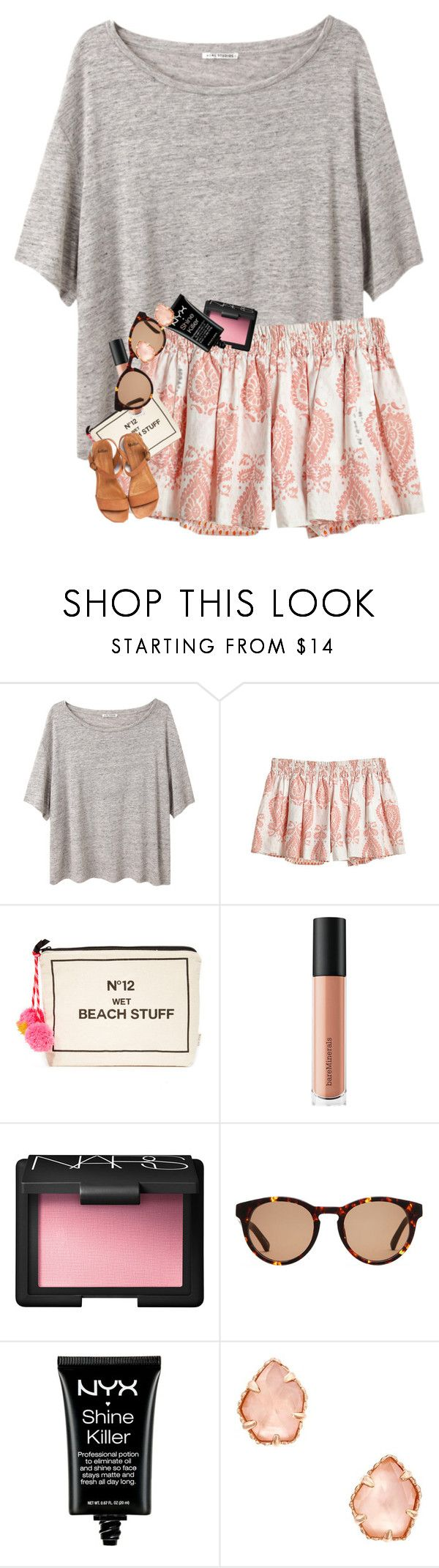 """""""I'm watching Hannah Montana right now """" by erinlmarkel ❤ liked on Polyvore featuring Acne Studios, Calypso St. Barth, Bag-All, Bare Escentuals, NARS Cosmetics, Linda Farrow, NYX and Kendra Scott"""