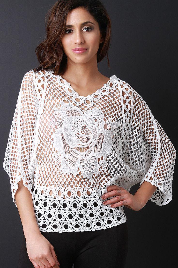 V Neck Rosette Crochet Dolman Sleeve Top