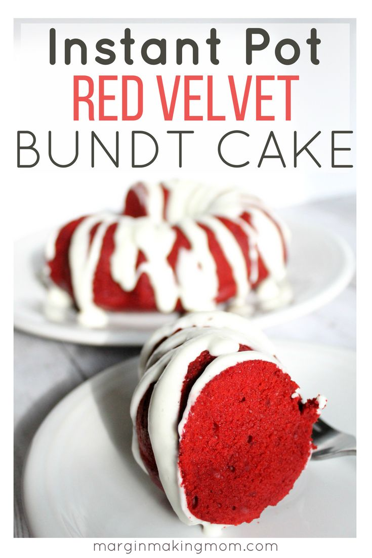 Did you know you can make a red velvet bundt cake in the Instant Pot? It's so easy, not to mention delicious! This version is topped with a cream cheese glaze and it's perfect for those times when you don't have an oven available. It's a lovely Valentine's Day dessert or Christmas dessert, too! Instant Pot Cake | Pressure Cooker Cake | Red Velvet Cake Recipe | Bundt Cake in the Instant Pot | Valentine's Day Dessert | Christmas Dessert in the Instant Pot