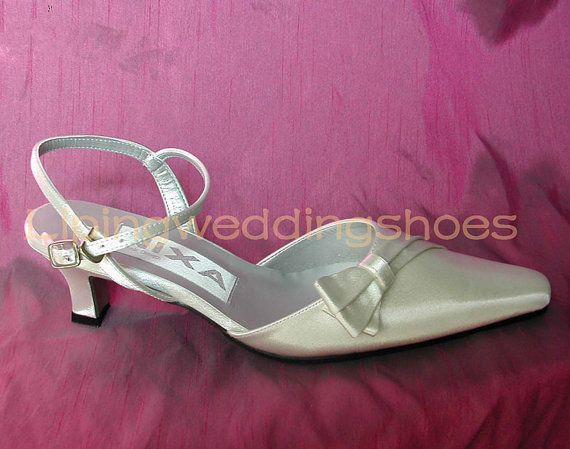 Ivory Satin Wedding Shoes Pointy Toe Slingback Low Heel Bridal