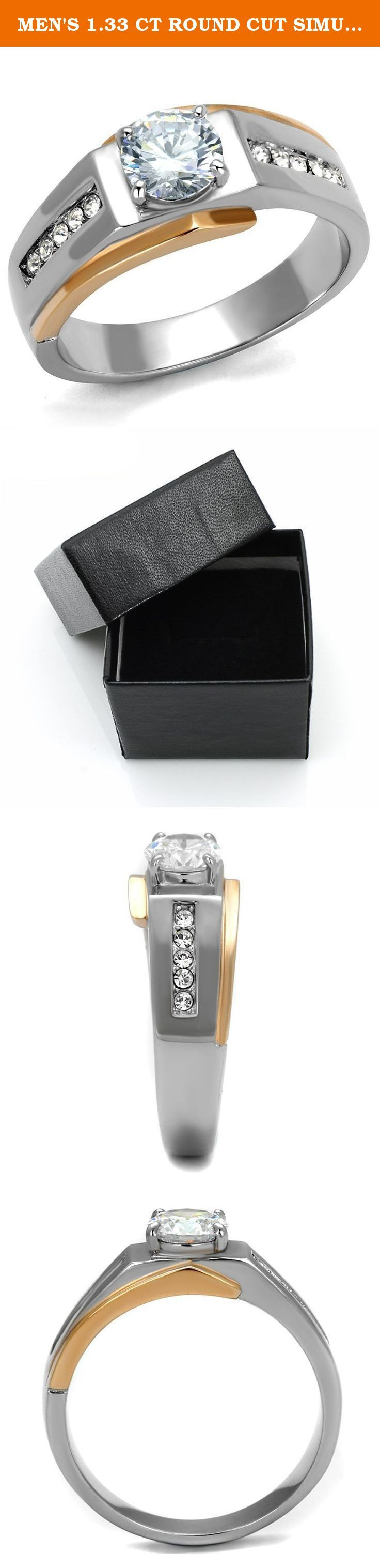 MEN'S 1.33 CT ROUND CUT SIMULATED DIAMOND TWO TONED STAINLESS STEEL RING Size 11. Men's 1.33 Ct Round Cut Simulated Diamond Two Toned Stainless Steel Ring Size 8-13 Men's AAA Grade Cubic Zirconia ring. Features a 1.03 Ct (6mm) clear round brilliant cut center stone in a prong setting, accented by 10 (2mm) clear round brilliant cut stones in a channel setting. Total carat weight is 1.33 diamond equivalent. Top quality stones display enriched clarity just like real diamonds! Surgical…