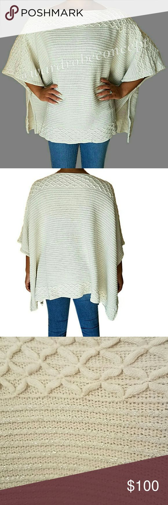 1 HR SALE! Soft Textured Ribbed Sweater Poncho *Boutique item = BRAND NEW without tags. *All photos are of the actual item. *All photos taken by @wardrobeconcept. Textured Ribbed Cream Poncho with Gold Speckle throughout. Boat neckline. 100% soft Acrylic. One Size fits most. Measurements available upon request. No rips, tears, or stains. Please use offer button for all offers. Feel free to bundle for a great discount! No trades. Boutique Sweaters Shrugs & Ponchos