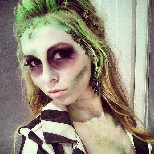 "The name of the game for this movie costume is to look dead. Pale face, green ""mold,"" and dark eyes go perfectly with a striped top! Source: Instagram user reynainstagram"