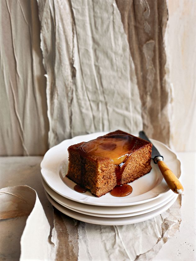 upside-down pear and gingerbread slice