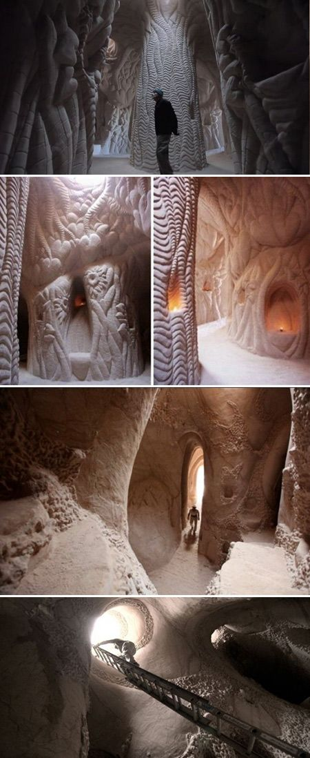 Sculptor Ra Paulette has a phenomenal hobby – he digs caves in New Mexico's sandstone cliffs. Not plain, rocky, boring ones. Ra's caves are smooth, artistic, and breathtakingly beautiful, and he creates them with his bare hands. His only tools – a pickaxe and a wheelbarrow.