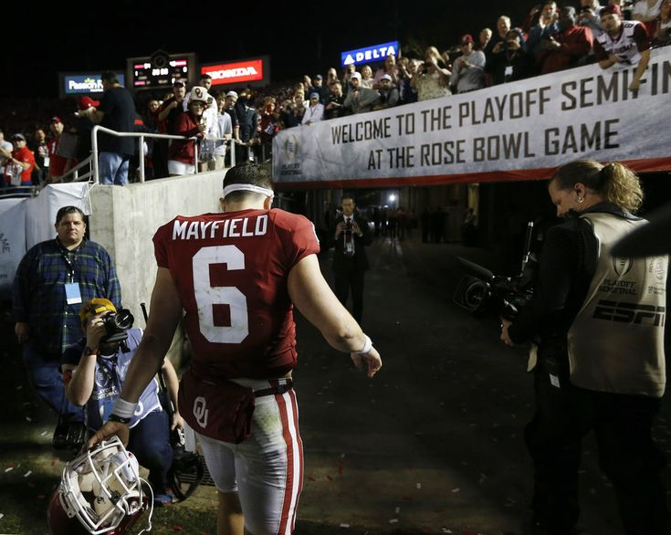 Oklahoma's Baker Mayfield (6) leaves the field after the Rose Bowl Game, a College Football Playoff Semifinal, between the Oklahoma Sooners (OU) and Georgia Bulldogs (UGA) at the Rose Bowl in Pasadena, California, Monday, Jan. 1, 2018. Georgia won 54-48 in double overtime. Photo by Nate Billings, The Oklahoman