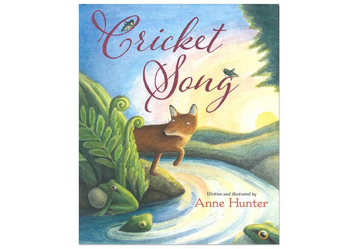 CRICKET SONG Hardback - by Anne Hunter.  What sounds do you hear as you fall asleep? The cricket song, kreck-kreck- kreck of frogs, hoo, hoo, hoo of an owl, rumbling tide, scrawk, scrawk of parakeets, and more, ready to interpret with vocal and body sounds or guiros, shakers, owl whistle, ocean drum, and more.