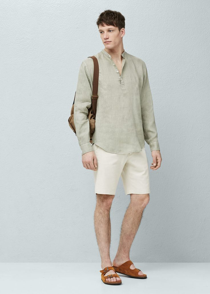 Regular-fit mao collar linen shirt