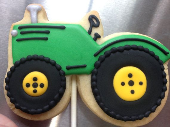 Custom Decorated TRACTOR Cookies  THICK by DecoratedDesserts on Etsy