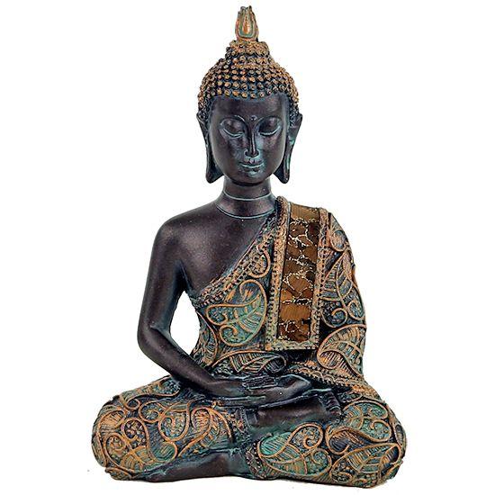 Kleiner Buddha Antiklook - Kleidung mit Muster von Bodhiblättern Der Bronzefarbende liegende Buddha im Antiklook hat eine Größe von 10x6x15 cm. Es ist ein Meditierender Buddha Ein toller Anblick und besticht durch seine Farben....