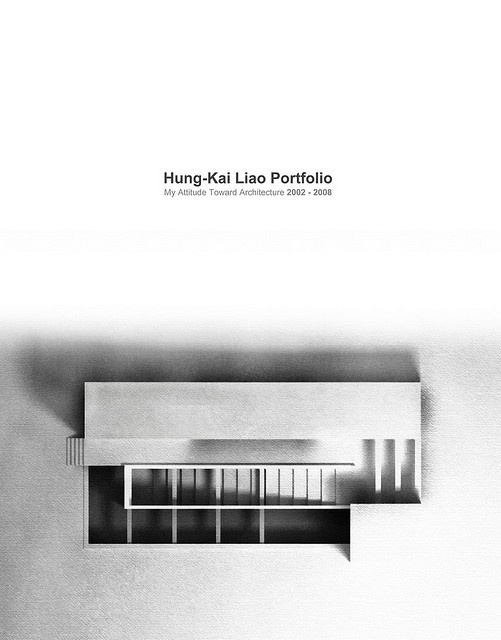 Architecture Portfolio Cover by Kai . L, via Flickr.  I really like the tone and composition of the image on the bottom half