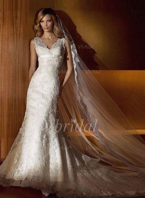 Robes de mariée - $243.02 - Forme Sirène/Trompette Col V Traîne mi-longue Satiné Tulle Robe de mariée avec Dentelle Emperler À ruban(s) (00205001331)