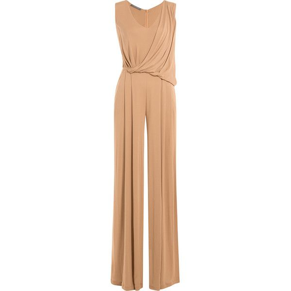 Alberta Ferretti Jersey Jumpsuit ($960) ❤ liked on Polyvore featuring jumpsuits, camel, wide leg romper jumpsuit, jersey jumpsuit, v neck jumpsuit, v-neck jersey and v neck jersey