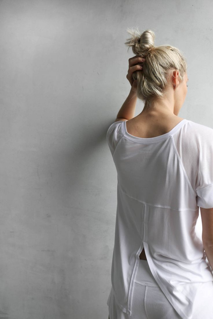 Siro Top - This is not your average tee shirt. The Siro Sleep Top has sheer modal, cutout sleeves, an oversized, flattering drape, and an open seam in the back. We designed this for the minimalist cool girl who is all about subtle details. #sleepwear