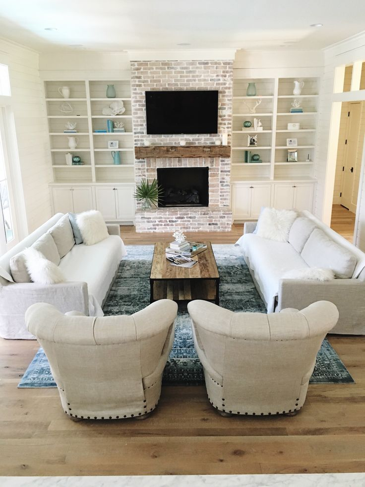 Coastal Farmhouse living room. White washed brick, oak floors @our_coastal_farmhouse insta feed