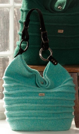 Noni Designs - Bedouin bag ... knit then wash to felt - like the texture and handles (also note the green one in the background). Can't wait to knit mine!