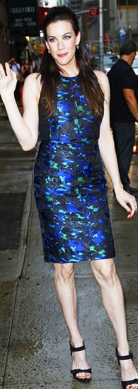 Who made  Liv Tyler's blue print dress and black sandals that she wore in New York