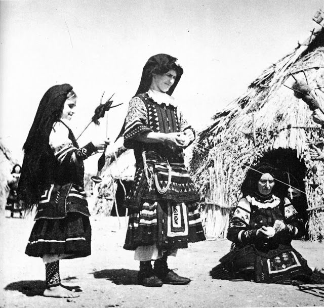 Spindle and distaff. FolkCostume: Costume of the Sarakatsani or Karakachani, Greece
