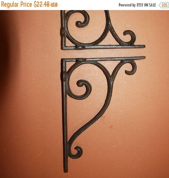 Check out ON SALE 2) pcs, Decorative shelf brackets for the home, medium, heavy duty, decorative shelf bracketts, elegant design, swirl, curly, cast i on wepeddlemetal