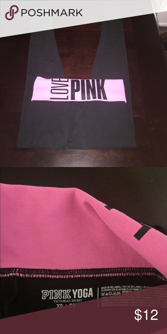PINK yoga pants PINK by Victoria's Secret yoga pants with pink fold over waist band PINK Victoria's Secret Pants Track Pants & Joggers