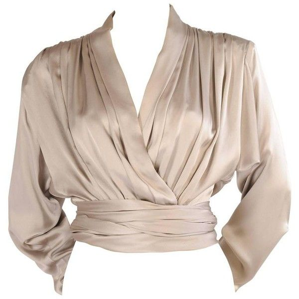 Preowned Yves Saint Laurent Couture Pale Grey Silk Charmeuse Wrap... ($900) ❤ liked on Polyvore featuring tops, blouses, shirts, grey, zip blouse, wrap shirts blouses, zipper shirt, ruched shirt and light grey shirt