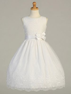 White Embroidered Organza Communion Dress w/ Ribbon $74.99  Goes up to size 12x Like this one, but with a flower not a bow.  NICK APPROVED