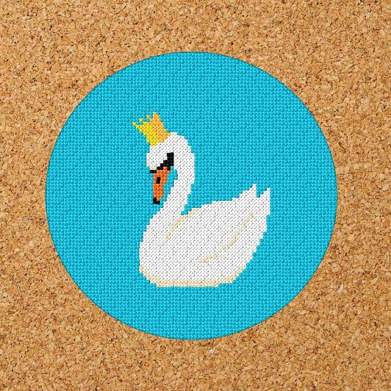 A super sweet Swan pattern to stitch. A great, easy pattern for beginners. The pdf pattern includes basic cross stitch instructions and a colour/symbol chart with suggested DMC colours. I have included a stitched blue background but the swan would look great stitched onto coloured aida. Material Type: Aida Generic White Sewing Count: 14/inch or 55/100mm Design Size: 84 x 84 stitches Sewn Design Size: 6 x 6 inches or 152 x 152 mm Suggested Material Size: 11.9 x 11.9 inches o...