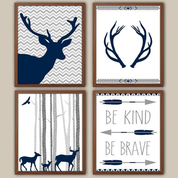 I love these but maybe in some coral and dark grays.   Woodland Nursery Art For Boys - Tribal Boys Wall Decor - Stag - Kids Wall Art - Navy Nursery Decor - Boys Wall Art - Set of 4 Art Prints