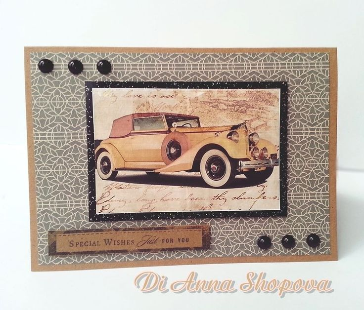 Greeting Card for him birthday Handmade, masculine, mens, male, vintage vehicle