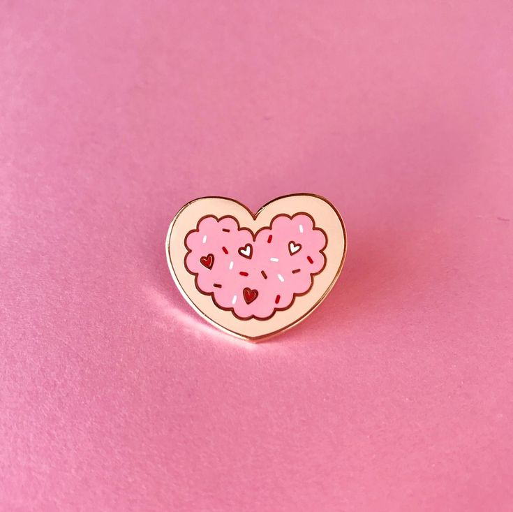 Valentines Heart Sprinkle Sugar Cookie Lapel Pin – The Pink Samurai