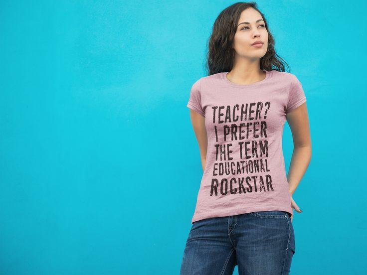 Educational Rockstar Teacher T-Shirt (Black Logo)