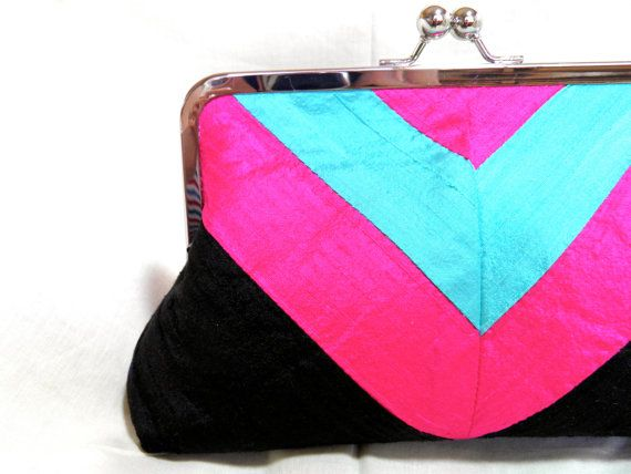 8 Black Silk Clutch with Hot Pink and Aqua Chevron by SimplyClutchSimplyclutch, Aqua Chevron, Hot Pink, Black Silk, Silk Clutches