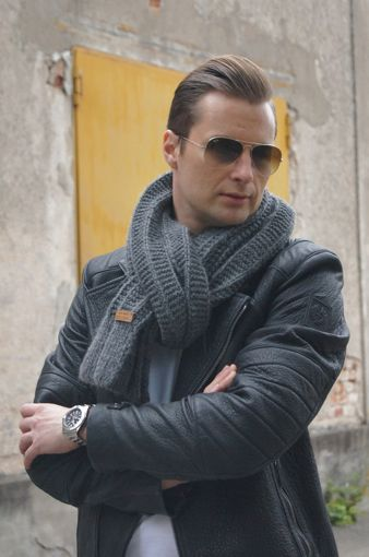 Schal stricken: Grobstrick Herrenschal, tolles Muster und schöne Wolle