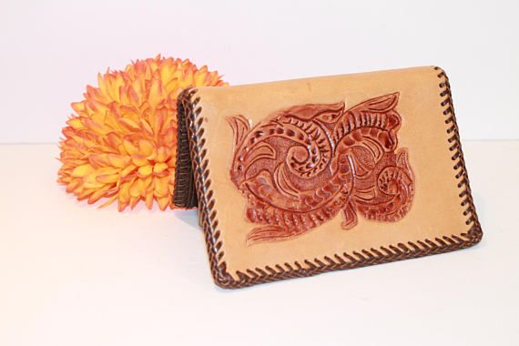 Vintage Tooled Leather Wallet  Stamped Leather Folded Wallet. SPRING17 Coupon code.
